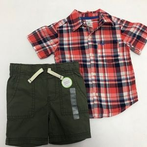 Carters boys 2t shorts and button up shirt set